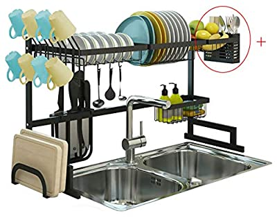 A1 Fortress Over Sink Dish Drying Rack, Drainer Shelf for Kitchen Supplies Storage, Counter Organizer, Utensils Holder, 2 Tier for Kitchen Countertop, Rustless Stainless Steel by A1 Fortress Inc