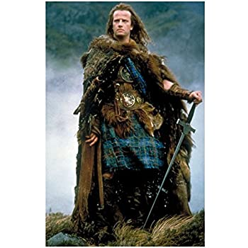Highlander  The Series Movie 8 x 10 Photo Connor MacLeod/Christopher Lambert w/Sword in Tartan Plaid and Furs kn