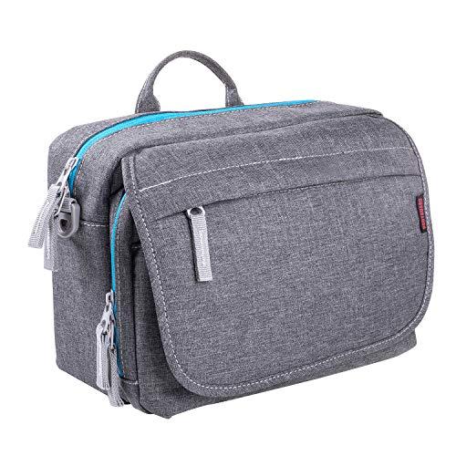 Bodyguard SLR Messenger Bag Photo Bag SLR para cámaras DSLR y accesorios, bolso gris - acolchado con bandolera y muchos compartimentos para 2-3 lentes y más.