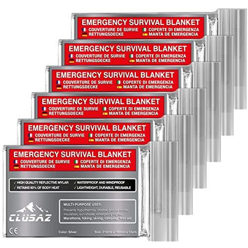 CLUSAZ Manta de Emergencia Plata XL 210x160cm (Paquete de 6) Retiene hasta el 90% del Calor, Impermeable, Esquí, Maratón, Senderismo, Campamento, Primeros Auxilios, Seguridad Vial - GARANTÍA