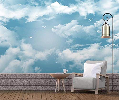 3D Tapete Blauer Himmel Und Weiße Wolken Möwe Mediterrane Einfachheit Fototapete 3D Effekt Wandbild Tapeten Wohnzimmer Hintergrundbilder