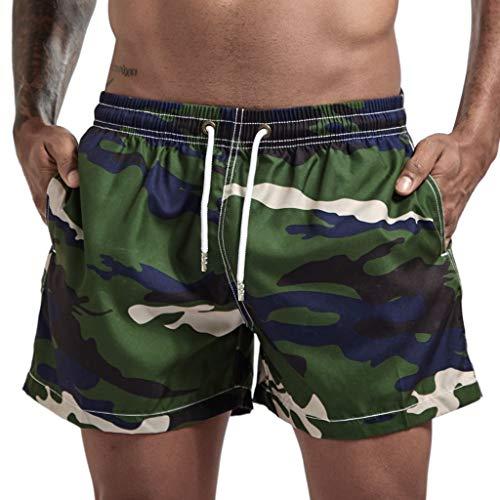 Camo Surfshorts Herren Badehose Laufshorts Sportshorts Strandhose Boardshorts Boxershorts Kurze Pants GreatestPAK,Grün,XL(Taille:84-90cm)