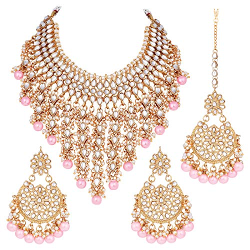 Aheli Indian Traditional Ethnic Bollywood Kundan Necklace Earrings and Maang Tikka Set Wedding Festive Wear Jewelry for Women (Pink)