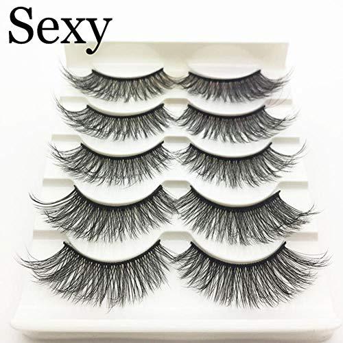 KADIS 5 Pairs Faux 3D Lashes Fluffy Wispy False Eyelashes Natural Long Eyelash Extension Makeup Handmade Fake Lash,3D-48,Lashes
