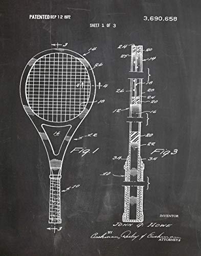 Póster, diseño de raqueta de tenis, regalo para tenis, tenis, decoración de tenis, modelo WB102, Pizarra negra, 50 x 70 cm