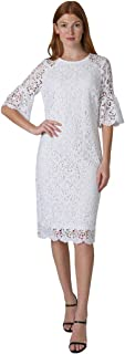 T I A N A B. Tiana B Women's Short Ruffle Sleeve Crew Neck Chemical Lace Midi Sheath Dress