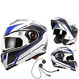 Cascos modulares de motocicleta Bluetooth + FM Flip Up Touring Cascos incorporados con doble altavoz Bluetooth con micrófono para automático, blanco/azul XL (57-59 cm)