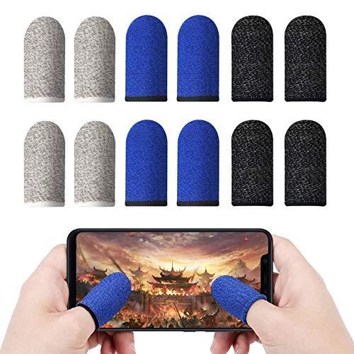 Olymajy 12 Pack PUBG Mobile Game Finger Sleeve Touchscreen Fingerhülse Atmungsaktiv Superdünn Anti-Sweat Fingerset Empfindliche Shoot- Ziel-Tasten Für Touchscreen-Smartphone-Spiele