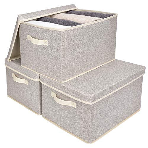 GRANNY SAYS Storage Bins for Closet with Lids and Handles Rectangle Storage Box Fabric Storage Baskets Containers Beige Extra Large 3-Pack