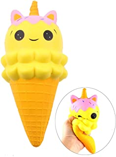 ARTEM Slow Rising Squishy , Ice Cream Unicorn Squishy Prime Toy , Sweet Scented Vent Charms Toy Cute Kid Toy Hand Toy , Lovely Stress Relief Toy , Decorative Props , Doll Gift(1Pcs Yellow)