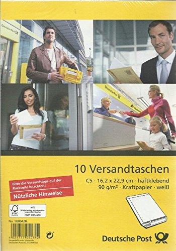 Deutsche Post - 10 Versandtaschen - C5 weiß haftklebend ohne Fenster
