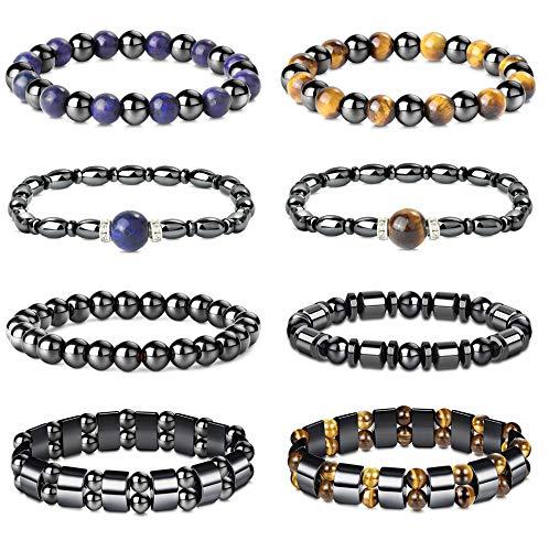 YADOCA 8 Pcs Hematite Bracelets Set for Men Women Magnetic Bead Bracelets Tigers Eye Bracelet Lapis Lazuli Elastic Bracelet