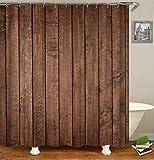 Chickwin Duschvorhang Wasserdicht Anti-Schimmel 3D Schwarz Polyester Bad Vorhang mit 12 Duschvorhangringe für Badezimmer Décor (90x180cm,Dunkelbraun)