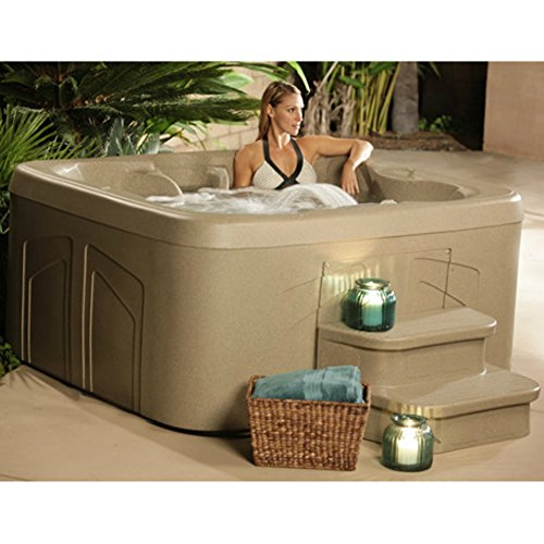 4 Person Hot Tub with 20 Stainless Steel Jet Plug & Play Spa Waterfall, LED Color Lighting, LCD Control, Rock Solid Shell, Sandstone (With steps)