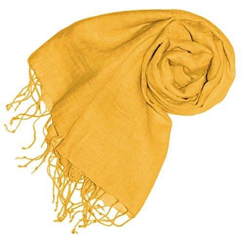 Lorenzo Cana Damenschal Leinenschal 100% Leinen 70 x 180 cm Tuch Naturfaser Gelb Senf Modefarbe Spicy Mustard 93264