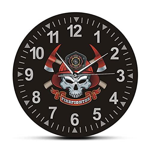 hufeng Reloj de Pared Calavera de Bombero con Ejes Cruzados Reloj de Pared silencioso sin tictac Cruz de Malta Calavera de Bomberos Signo del Departamento de Bomberos Reloj de Pared