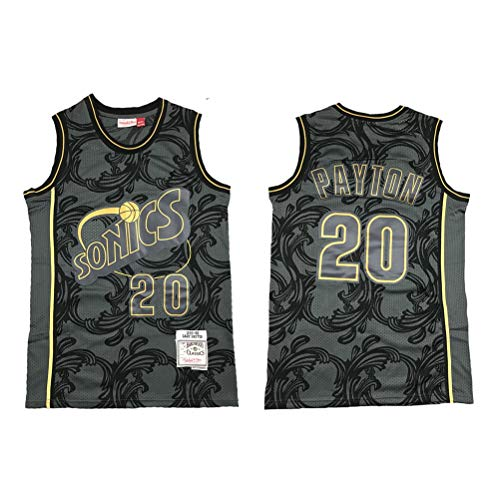 LSJ-ZZ Basketball-Jersey-Männer NBA Seattle Supersonics 20# Gary Payton, kühle Breathable Gewebe New gestickte Retro All-Star Jersey Sports Top,M(175cm/65~75kg)