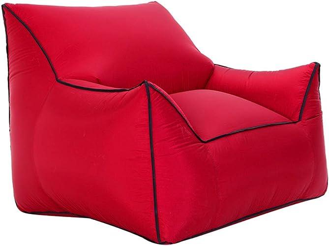 Poche de sofa gonflable de chaise de sofa d'air de chaise longue, portative et se pliante, Ripstop en nylon 210t, pour camper augHommestant les adultes extérieurs de filles de salon de plage,rouge,Medium