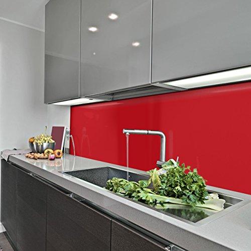 KERABAD Küchenrückwand Küchenspiegel Wandverkleidung Fliesenverkleidung Fliesenspiegel aus Aluverbund Küche Rot Glanz/matt 30x220cm