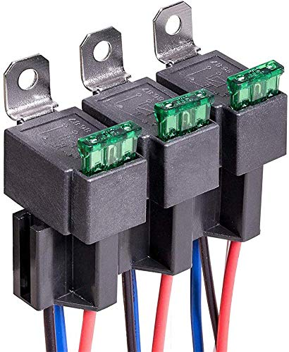 DC12V Fuse Relay 30A ATO/ATC Blade Fuse with Wiring Loom Kit 4-pole...