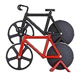 Cortador de pizza, Orpey, 2 unidades de cortadores de pizza antiadherentes de acero inoxidable, cuchillas súper afiladas, cortador de rueda de pizza para bicicleta con soporte (negro + rojo, 18,5 cm)
