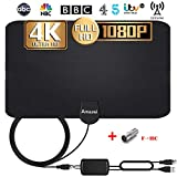 TV Aerial, [2020 LATEST] Indoor TV Aerial with Signal Amplifier Freeview HD 4K