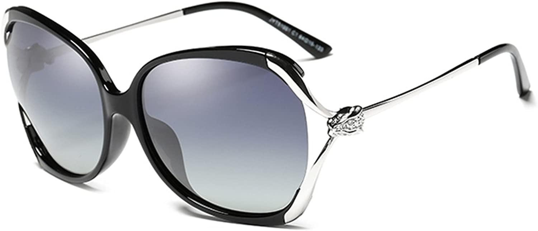 DEI QI Polarized Sunglasses Female, Large Frame, Stylish Round Rhinestone Sunglasses, Driving Predective Glasses Against UVA, AntiUVB