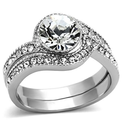 Doublebeez Jewelry Stainless Steel 2-Piece Engagement and Wedding Ring Set,...