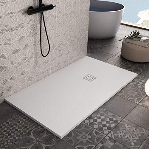 Essence ArredoBagno Plato de ducha de resina de 160 x 70 cm – Efecto piedra antideslizante con Gelcoat – Modelo Rome blanco – Rejilla y desagüe incluidos