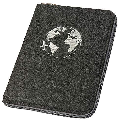 Ausweistasche Reiseorganizer Reisepasshülle A5 aus Filz mit rundum Reißverschluss Globus dunkelgrau (Farbe wählbar) | Etui für Reisepass, Reiseunterlagen, Flugticket, Kreditkarte, Personalausweis