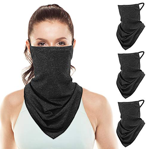 Rhino Valley Bandana Face Mask with Filter Pocket, 3 Pack Balaclava Neck Gaiter with Ear Loops, Outdoor Sport Dust Sun Protection Windproof Cloth Scarf Triangle Face Cover for Women Men, Black