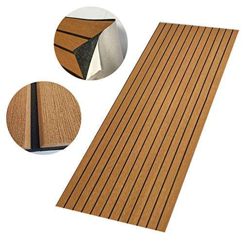 "CHURERSHINING EVA Foam Decking Sheet for Boat Yacht Marine Floor Carpet with Bevel Edge Self Adhesive 94.5""×35.4"" Light Brown,Grey,Dark Grey (Light Brown with Black"