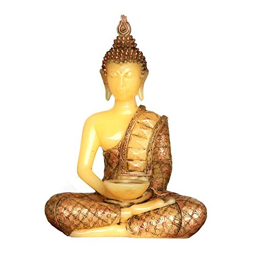 Meditating Thai Sitting Buddha Decor,Made of Real Wax Flameless Battery Operated Led Candle Light with Timer,13' Height