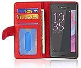 Cadorabo Hülle für Sony Xperia X - Hülle in Inferno ROT – Handyhülle mit 3 Kartenfächern - Hülle Cover Schutzhülle Etui Tasche Book Klapp Style