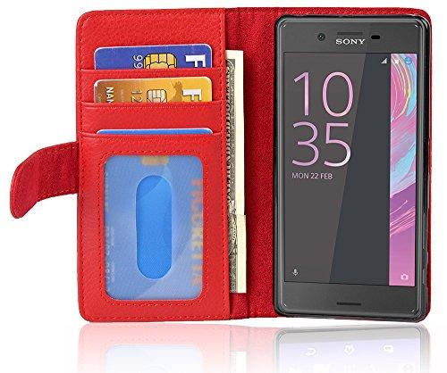 Cadorabo Hülle für Sony Xperia X Performance in Inferno ROT – Handyhülle mit Magnetverschluss & 3 Kartenfächern – Hülle Cover Schutzhülle Etui Tasche Book Klapp Style