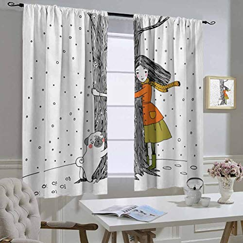 Mozenou Dog Best Home Fashion Thermal Insulated Blackout Curtains Young Girl and a Cute Pug Dog Holding a Tree in The Snowy Weather Illustration Curtain Door Panel 63x63 Inch White and Black
