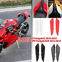 LorababerオートバイPillionリアシートトリムフェアリングカバーカーボンファイバーソロシートカバーサイドパネルカバー、テールストックカバープレート適用車種Ducati 1299 Panigale/S/R 2016 2017 2018 2019(サイドシートパネル-ホワイト)