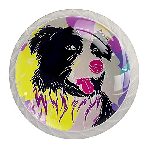 Juego de 4 tiradores de cajón y pomos para cajones con tornillos de cristal para cajón, gabinete, tirador de armario, accesorios para perros, color rosa de 35 mm