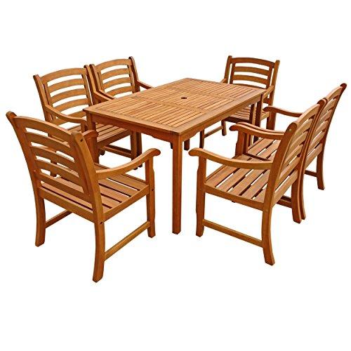 IND-70292-MOSE7 Gartenmöbel Set Montana, Garten Garnitur Sitzgruppe aus Holz - 7-teilig - Tisch + 6 x Stuhl