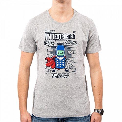 PacDesign T-Shirt Herren Super Indestructible Nokia Geek Funny TV Series Cellular Nemimakeit Nm0098a, M, Lightgrey