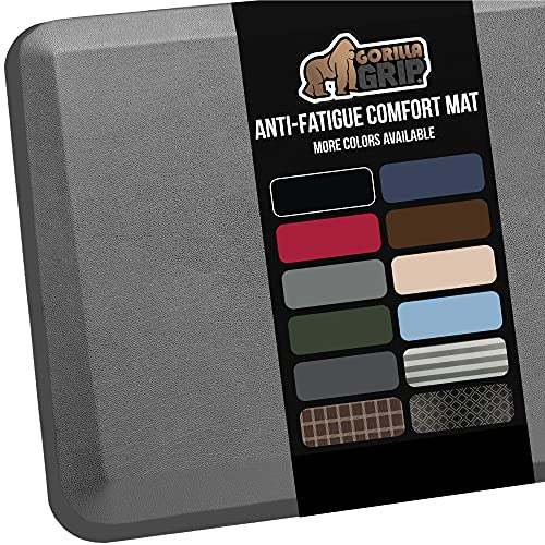 Gorilla Grip Anti Fatigue Cushioned Comfort Mat, Ergonomically Durable, Supportive, Padded, Thick and Washable, Stain-Resistant, Kitchen Runner, Garage, Office Standing Desk Mats, 70x24, Gray