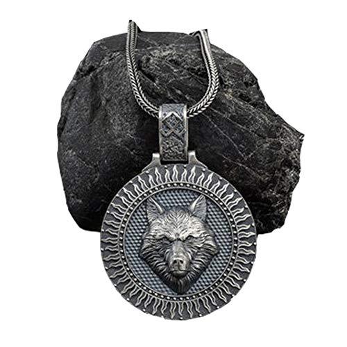 Viking Jewelry Runes Coin Wolf Head Colgante Collar De Cordón De Cuero para Hombres Y Mujeres, Animal Power Norse Amulet Collares Colgantes Regalo De Las Mujeres