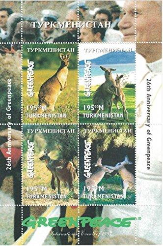 Briefmarken für Sammler–perforfated Stempel Blatt mit Kangaroos/26. Jubiläum der Greenpeace/Turkmenistan