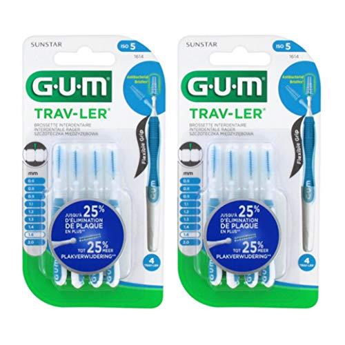 GUM Trav-ler Interdentalbürsten blau 1.6 mm, 12 Stück, Zwischenraum Zahnbürsten mit Anti-Rutsch-Griff