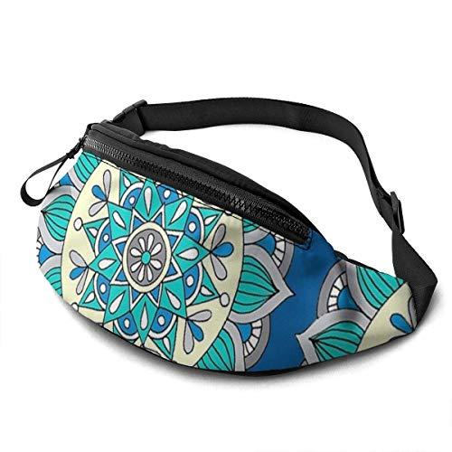 XCNGG Bolso de Cintura Corriente Bolso de Cintura de Ocio Bolso de Cintura Bolso de Cintura de Moda Blue & Cream Belt Bag 13.7 X 5.5 Inch Unisex Running Waist Packs Fashion Casual Waist Bag, Can Hold