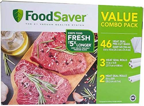 Food Saver Vacuum Seal Rolls and Vacuum Sealer Bags Value Combo Rolls Precut Bags 46pcs 8 in product image