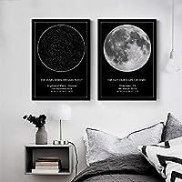 カスタム星図夜空キャンバス絵画ポスターウェディングギフト星座ウォールアートプリント写真保育園の家の装飾50x70cmフレームなし