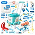 NONZERS Doctor Kit for Kids, 40 Pieces Doctor Play Kit, Pretend Play Doctor Set Medical Toy with Medical Cart, Emergency Bed, Stethoscope, Nurse Suit for Boys Girls Educational STEM Gift by NONZERS