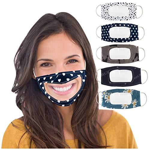 5 Stück Lippen Mundschutz, Anti Staub mundschutz waschbar mit Motiv Atmungsaktive mundbedeckung Stoff Adult Lip Speaking Visual Transparente mundschutz Für Gehörlose
