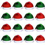 SATINIOR 16 Pezzi Natale Tessuto Non Tessuto Babbo Natale Cappello Babbo Natale Santa Cappelli per Adulti (Verde e Rosso)